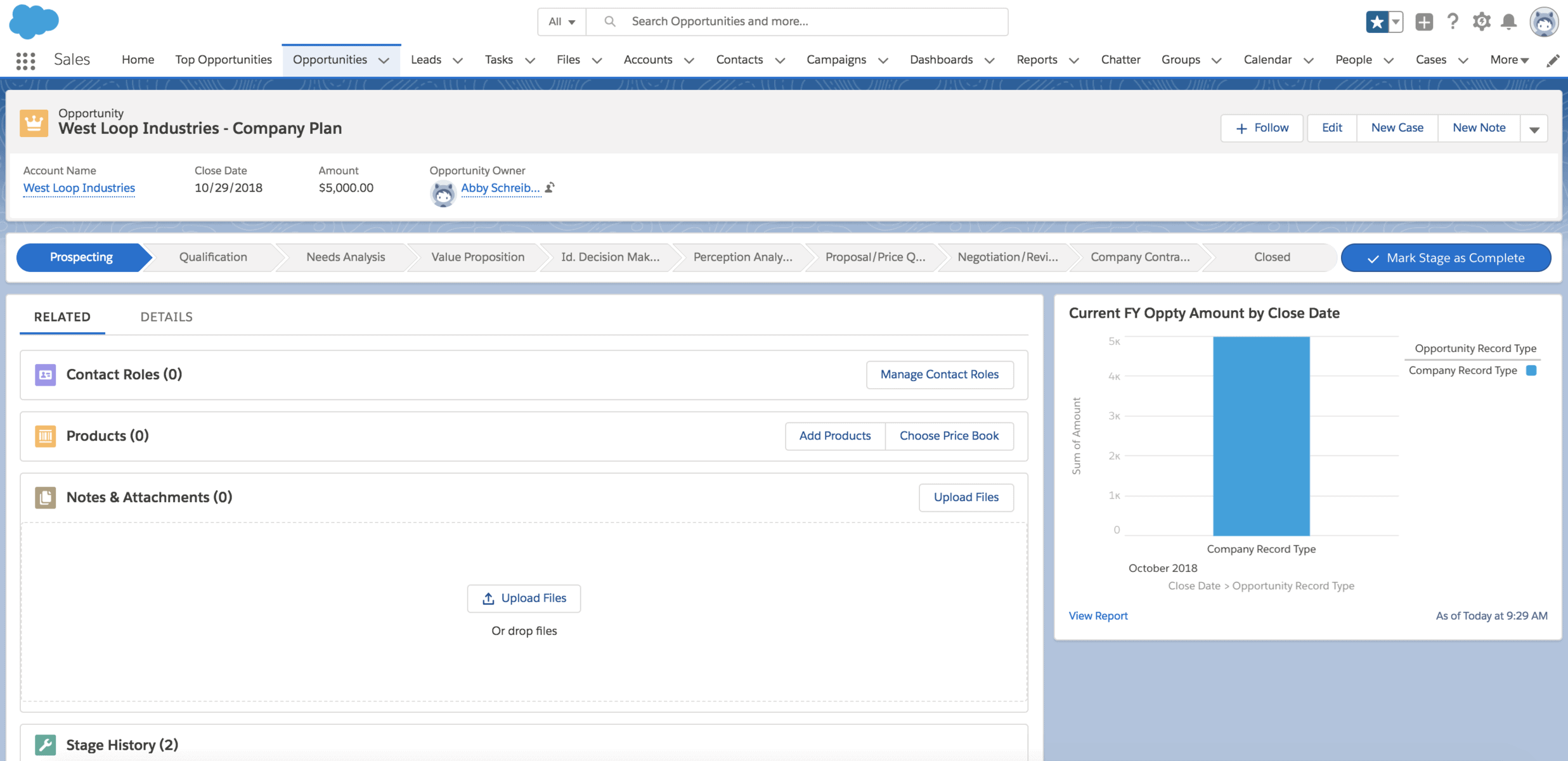 Salesforce Lightning Opportunity Page Variation_Report Chart