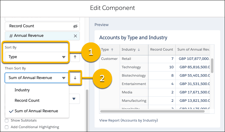 Sort Dashboards and Components By Groups And Measures