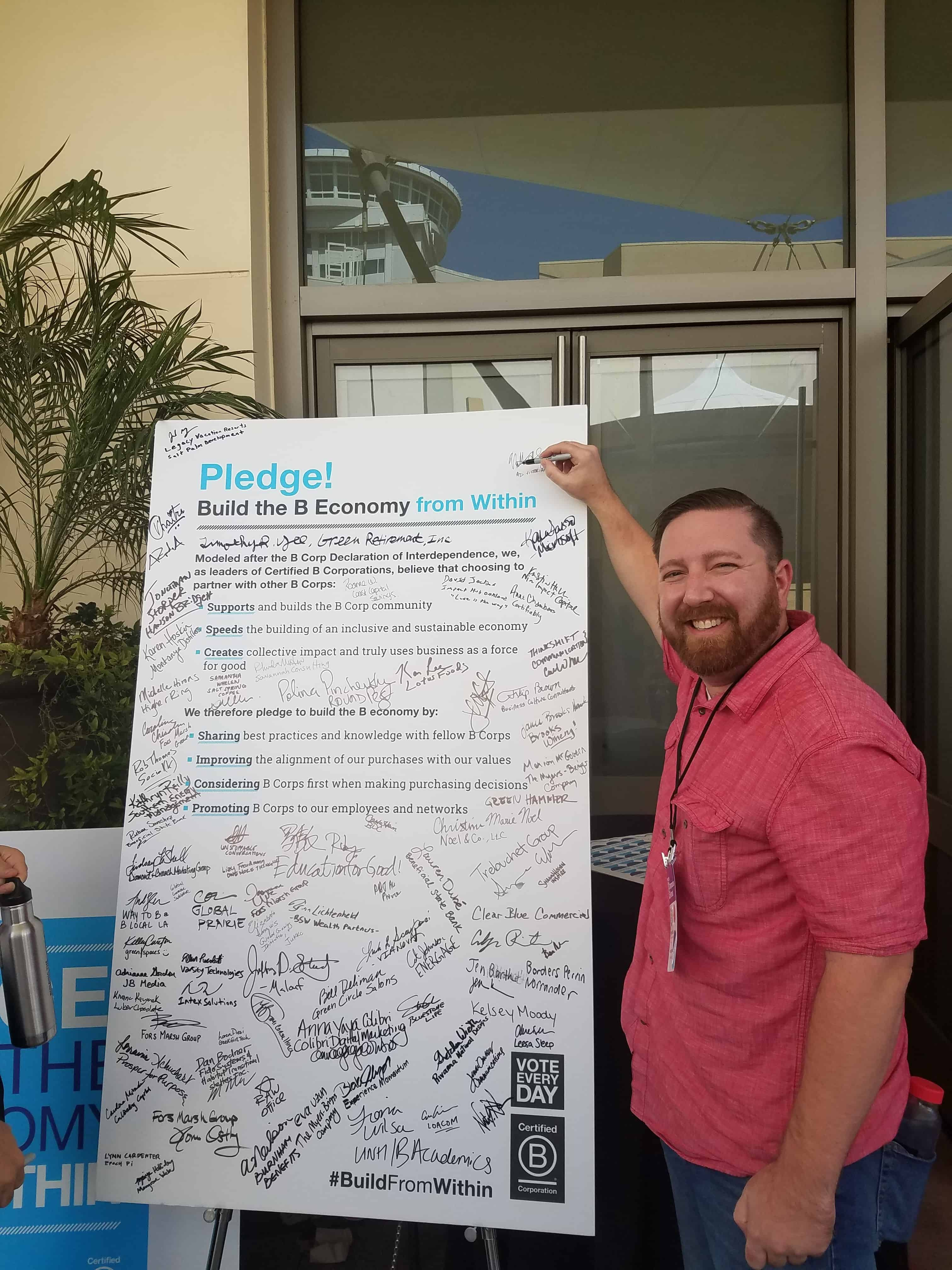 Ad Victoriam's Nathan Stuck signing the pledge.