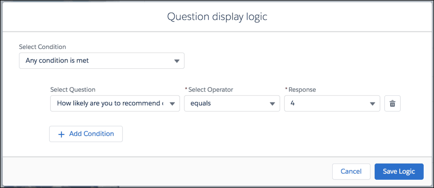 Display Questions Based on Participant Responses