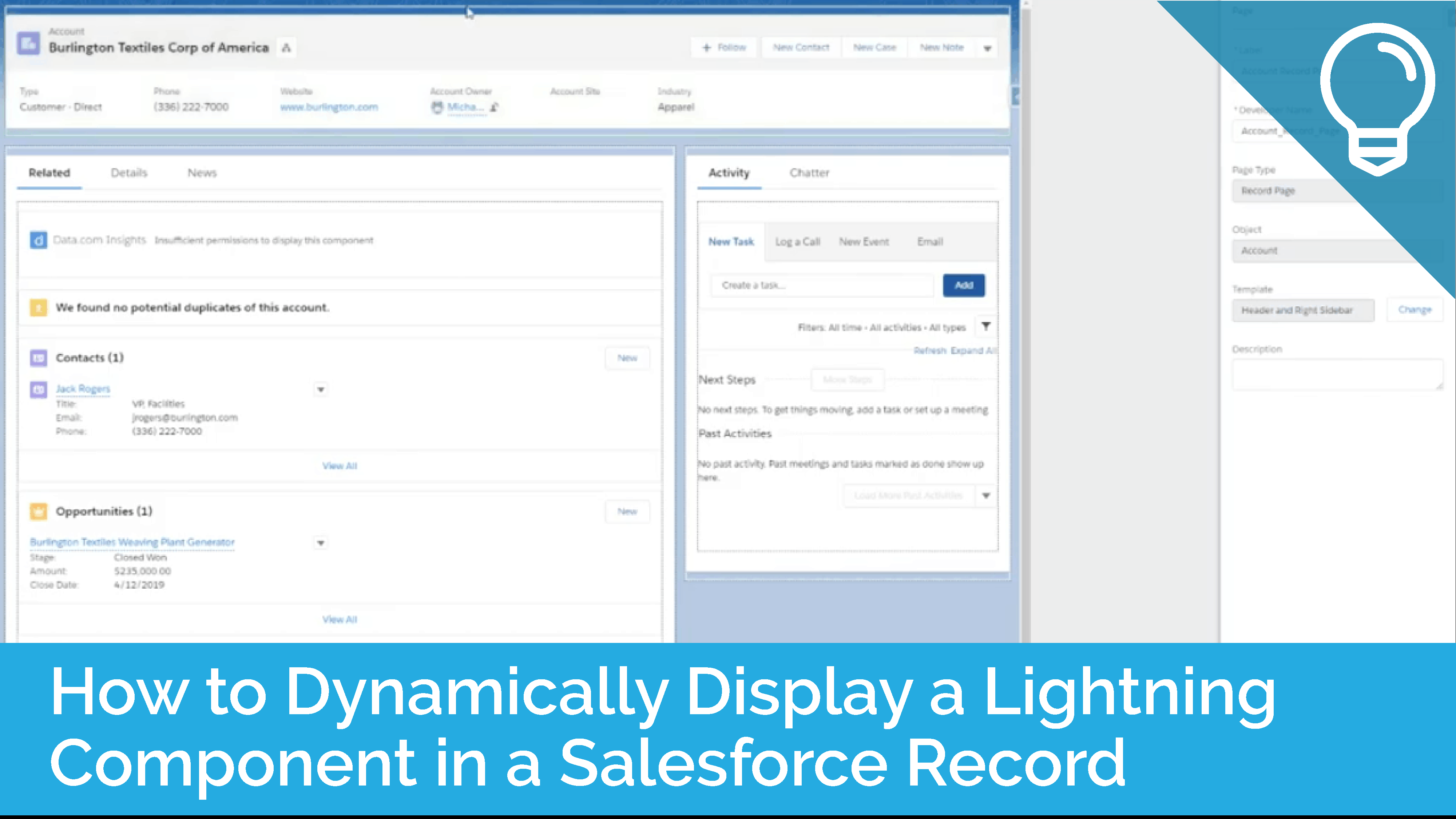 How to Dynamically Display a Lightning Component in a Salesforce Record