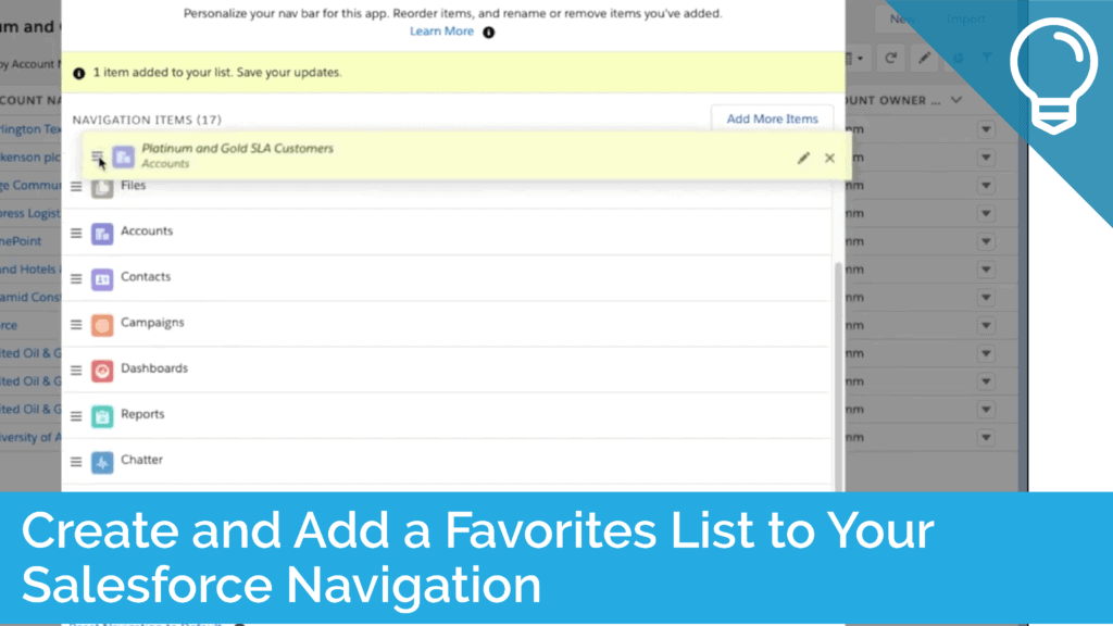 Create and Add a Favorites List to Your Salesforce Navigation