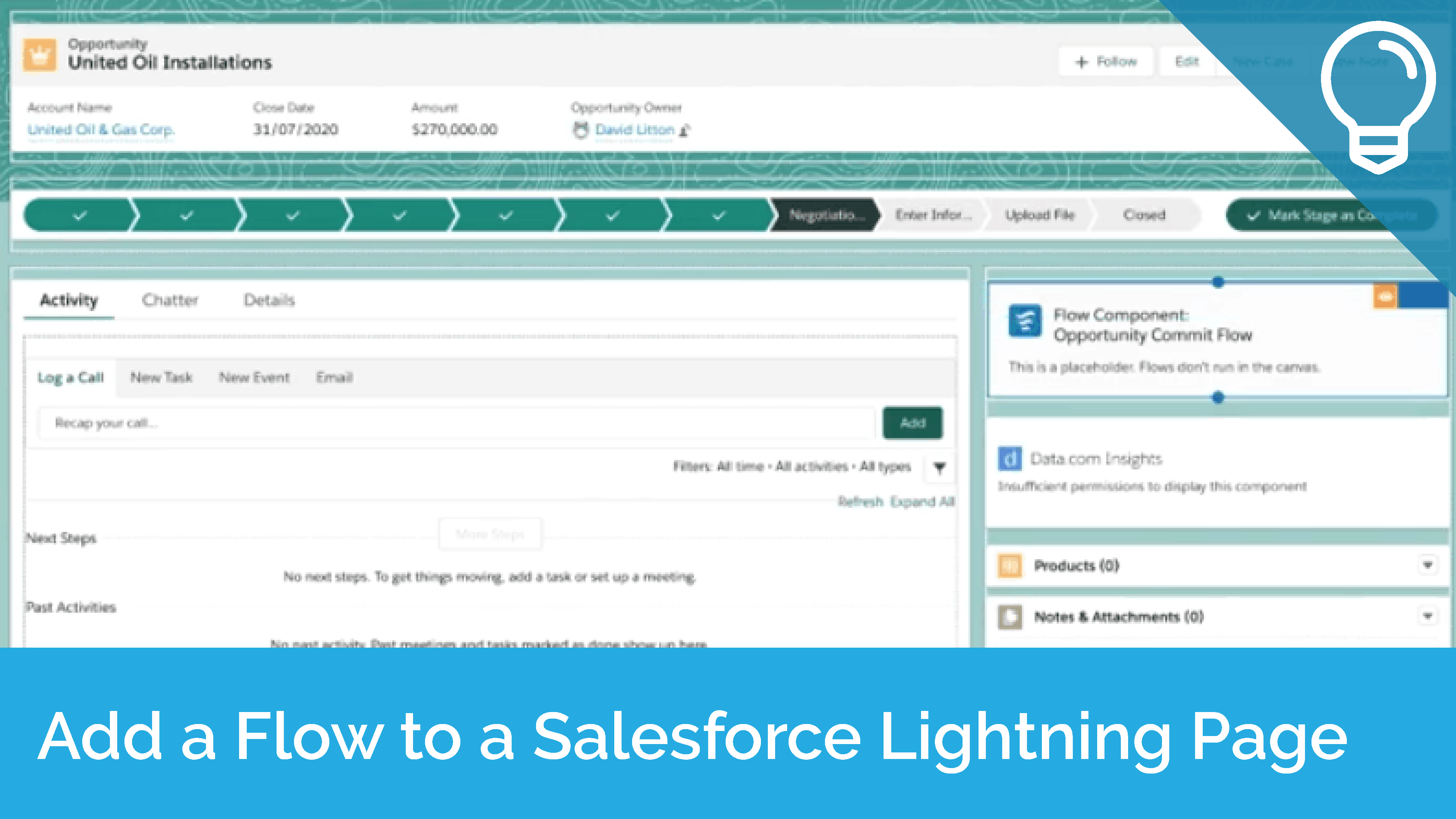 Add a Flow to a Salesforce Lightning Page