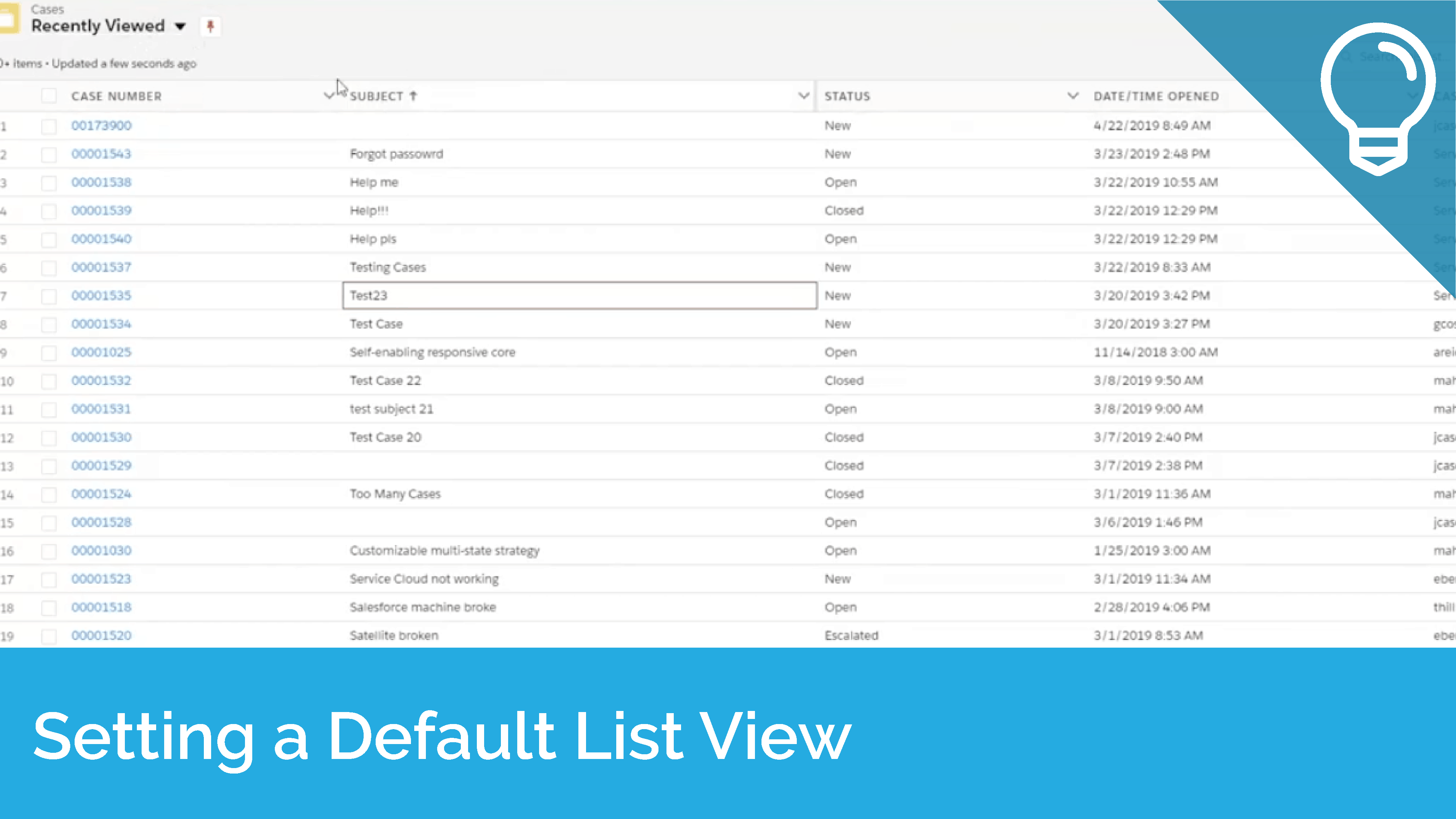 Setting a Default List View