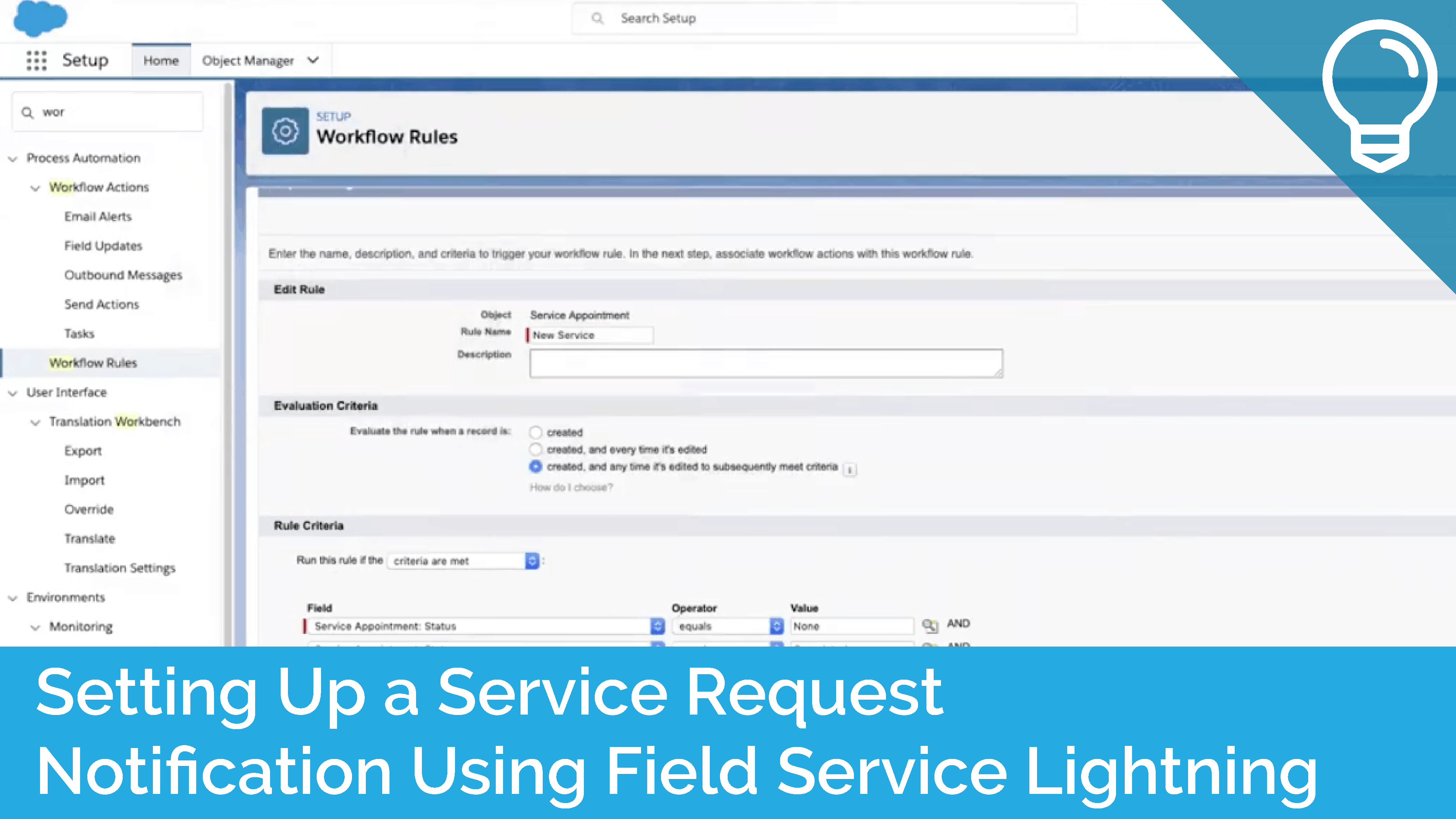 Setting Up a Service Request Notification Using Field Service Lightning